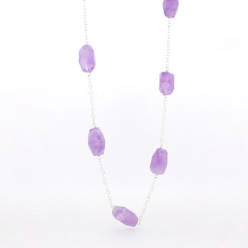 LONG NECKLACE SILVER AND AMETHYST STONES  Stradda 15H25-1