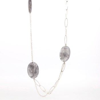 LONG NECKLACE SILVER AND NATURAL STONES  Stradda 15SR-8