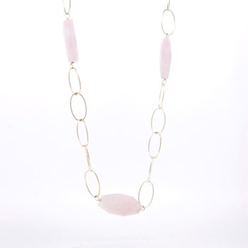 LONG NECKLACE SILVER AND PINK STONES  Stradda 15SR-9