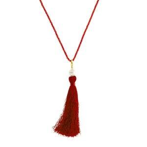 Collar largo pompón rojo perla cultivada