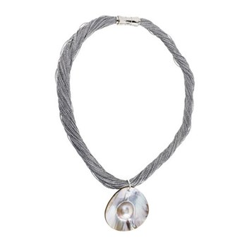 Necklace mother of Pearl silver-grey