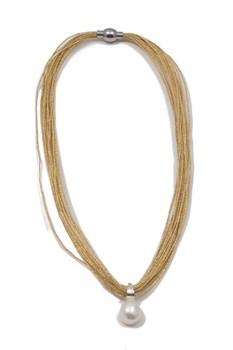 Collar malla japonesa con perla cultivada y plata de ley