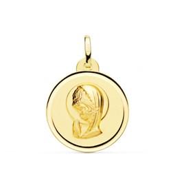 Collar MEDALLA ORO V. NIÑA LISA 16 MM. - Artesanal - 101691991