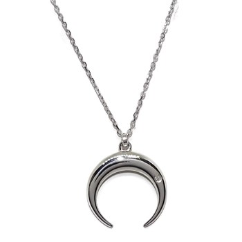 COLLAR HALF-MOON OF WHITE GOLD 18KTES WITH A DIAMOND OF 0.008 CTS, AND CHAIN FORCED WHITE GOLD NEVER SAY NEVER