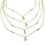 NECKLACE LETTER YELLOW GOLD CUSTOM 18K GOLD AND 2 ZIRCONS OF THE BEST QUALITY. 45CM NEVER SAY NEVER
