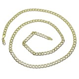CHAIN NECKLACE IN 18K YELLOW GOLD FOR MAN TYPE DIAMOND CUT CURB FLAT 5MM WIDE, AND 60CM LONG. CLOSE NEVER SAY NEVER
