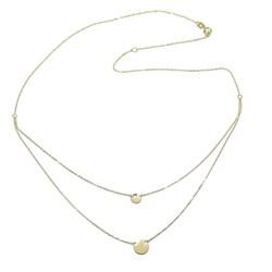 Moderno Collar Doble de Oro Amarillo de 18k con Cadena Mini Forzada y 2 circulos Never say never