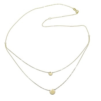 MODERN DOUBLE COLLAR IN 18K YELLOW GOLD WITH CHAIN MINI FORCED AND 2 CIRCLES NEVER SAY NEVER
