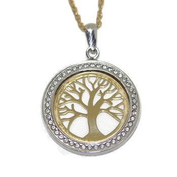 NECKLACE TREE OF LIFE YELLOW GOLD 18KTES WITH 44 ZIRCONS. NEVER SAY NEVER