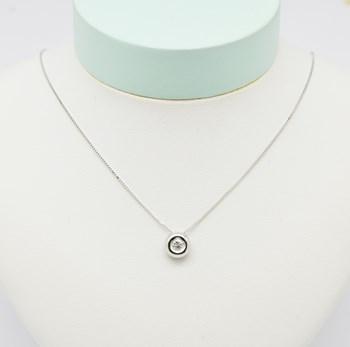 Collar Oro Blanco Diamante COLL501 Espaijoia