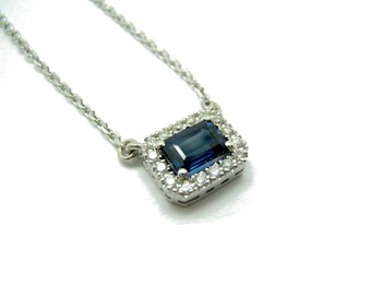 COLLAR WHITE GOLD SAPPHIRE AND DIAMOND C-184 B-79
