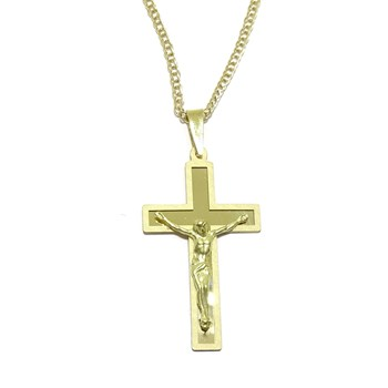 CHAIN NECKLACE YELLOW GOLD 18KTES AND CROSS WITH CHRIST GOLD 18KTES SPECIAL COMMUNION. NEVER SAY NEVER