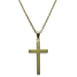 Collar Cruz de oro amarillo de 18Ktes lisa con cadena de 50cm doble hilo. Especial Comunión Never say never