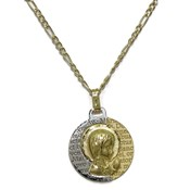 GOLD MEDAL TWO-TONE 18KTES, 16MM, PRAYER AND CHAIN YELLOW GOLD 40CM NEVER SAY NEVER