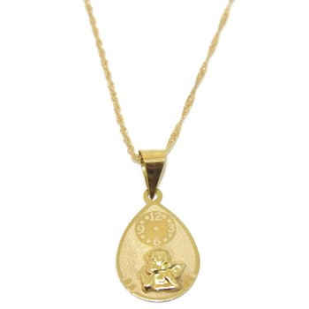 NECKLACE FOR BABY YELLOW GOLD 18KTES WITH ANGEL AND WATCH. NEVER SAY NEVER