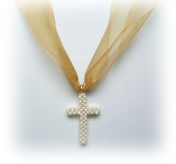 Silk necklace and Pearl cross.
