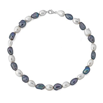 Collar perlas barrocas blanco y gris