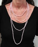 NECKLACE OF CULTURED PEARLS TINTED ROSES 2 METERS LONG. SPECIAL SUMMER 2017! NEVER SAY NEVER