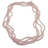 NECKLACE OF CULTURED PEARLS TINTED ROSES 2 METERS LONG.NEVER SAY NEVER