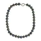 Collar perlas cultivadas gris-negro y plata ley
