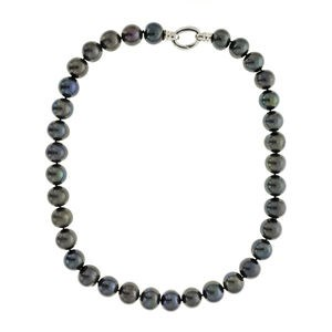 NECKLACE PEARLS CULTURED GREY-BLACK AND SILVER LAW