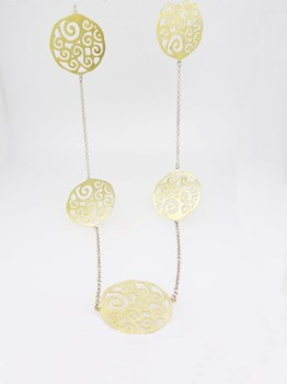 NECKLACE SILVER GOLD MEDALLIONS CO105