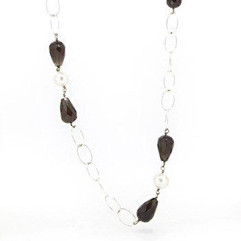 NECKLACE SILVER AND NATURAL STONES Stradda 15SR-3