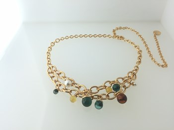 NECKLACE REBECCA BRONZE WITH GOLD PLATED AND STONES MULTICOLOR BHSKOM61