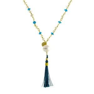 Collar rosario ágata azul y plata dorada