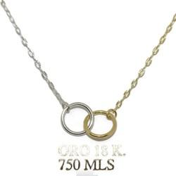 """Collar""""karma"""" bicolor de oro amarillo y blanco de 18Ktes. 40cm Never say never"""