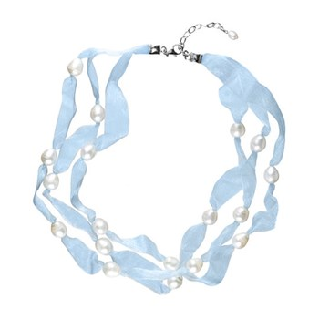 NECKLACE THREE TURNS BLUE ORGANZA AND CULTURED PEARLS