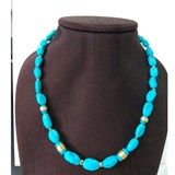 NECKLACE TURQUOISE SASSI FINE WITH ENTREPIEZAS IN GOLD AMARILLO18 KT.CRESBER