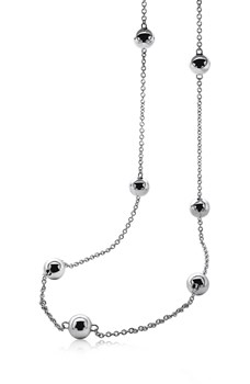 ZINZI NECKLACE SILVER AND BALLS ZIC642