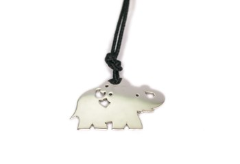 Lace with silver 0055A elephant necklace Pasquale Bruni