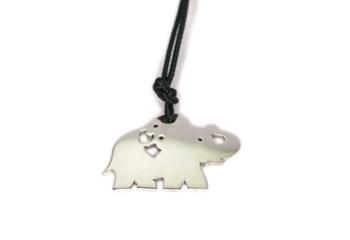 Collar de cordón con Elefante de plata 0055A Pasquale Bruni