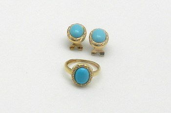 COMBINED SET OF EARRINGS OR RING. 6322