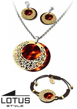 COMBINED GAME CHOKER NECKLACE EARRINGS AND BRACELET LOTUS LS1601 1 3 LS1601/1/3