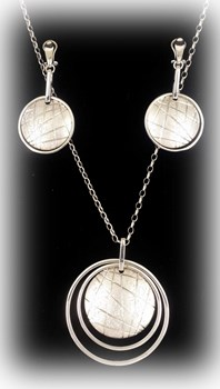 Combined set of EARRINGS and PENDANT silver