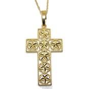 Cruz artesanal de oro amarillo de 18Ktes con cadena singapur de oro amarillo de 40cm Never say never