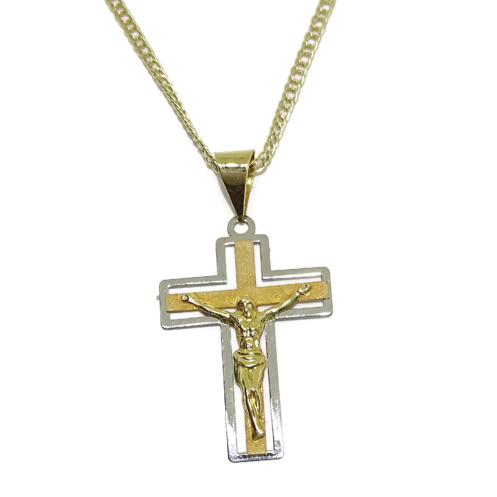 Yellow Gold Cross of 18/kt with Double Chain Yellow Gold Thread Of 18/kt 50/cm Special for your communion.