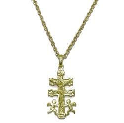 Cruz de Caravaca con Sus 2 emblematicos angelitos a Sus pies Toda de Oro de 18k. y cordón salomónico Never say never