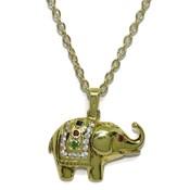 Elefante de 0.14cts de diamantes y oro amarillo de 18Ktes con piedras preciosas. 45cm Never say never