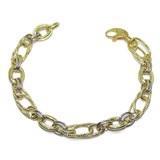 SPECTACULAR GOLD BRACELET YELLOW AND WHITE 18K FOR WOMEN OF 19.00 CM NEVER SAY NEVER