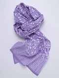 SILVER STICK RAYON WRAP LILAC AND WHITE FLOWERS F7A Plata de palo