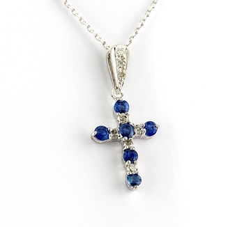 CHOKER WITH PENDANT IN THE SHAPE OF A CROSS MADE IN WHITE GOLD 750 THOUSANDTHS (18KT) WITH 8 BRILLIANT CUT DIAMONDS OF 0.25 KTS