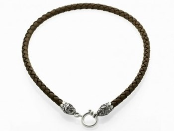 LEATHER WITH FINIALS AND CLOSURE IN SILVER 9073GBI CHOKER NECKLACE Marina Garcia