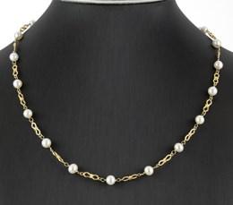 Collar Gargantilla de oro amarillo 18 k 750 formada por 18 perlas cultivadas de akoya 0003/45/2