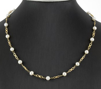 CHOKER YELLOW GOLD 18 K 750 FORMED BY 18 CULTURED PEARL AKOYA 0003/45/2