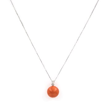NECKLACE WHITE GOLD 750 THOUSANDTHS/18 KT. WITH A HANGING BALL OF NATURAL CORAL PACIFIC OF 12.50 MM