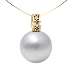 Collar Gargantilla oro amarillo perla botón y brillante 0,03 ct 1060367401 Cresber 1071049001